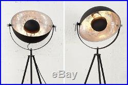 Stehlampe Stehleuchte CINEMA 140cm schwarz / silber Retro Design Lampe Spotlampe
