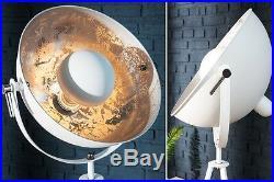 Stehlampe Stehleuchte CINEMA 140cm weiss / silber Retro Design Lampe Spotlampe
