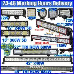 TRI ROW LED Work Light Bar Flood Spot Lights Driving Lamp Offroad Car Truck SUV