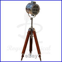 Tripod Floor Lamp Nautical Spotlight Vintage Studio Wooden Light Home Office NEW