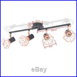 VidaXL Ceiling Lamp with 4 Spotlights E14 Black and Copper Lighting Fixture