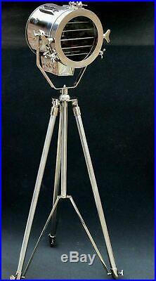 Vintage Antique Hollywood Theater Marine Searchlight Nautical Chrome Tripod