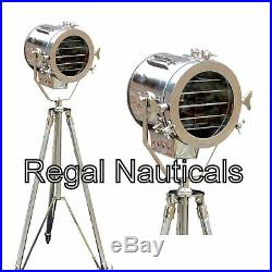 Vintage Collectible Maritime Spotlight Nautical Tripod Stand Floor Lamp Light