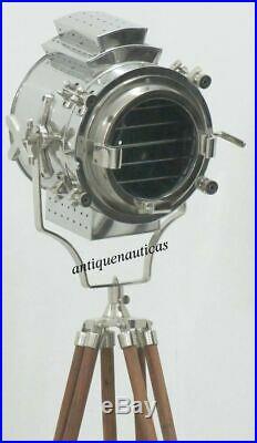Vintage Designer Chrome Searchlight Retro Floor Lamp Nautical Tripod Spotlight