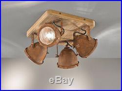 Vintage Holz Deckenleuchte mit Spots schwenkbar Metall rost Strahler Industrie