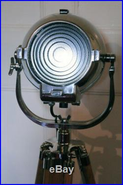Vintage Rank Strand 123 British Theatre Stage Bbc Spot Light Teak Tripod 23