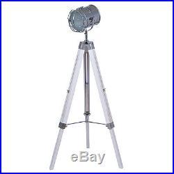 Vintage/Retro White Wash Wooden Tripod Spotlight Floor Lamp H140CM RRP £165
