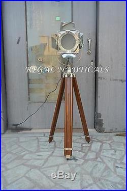 Vintage Searchlight Designers Chrome Nautical SPOT LIGHT Brown Tripod Floor Lamp