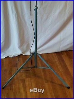 Vtg 1940's-50's Bretford Blue Industrial Tri-pod Mechanical Spot Light Lamp