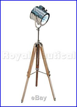 Wooden Tripod Floor Lamp Nautical Led Studio Searchlight Home Decor Spot Light