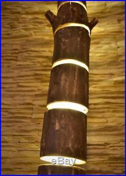 Wooden floor lamp is made of natural logs, floor light, handmade fixtures