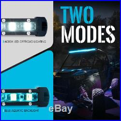 Xprite C6 Series 240W 50 Single Row LED Spot Light Bar with Aqua Blue Back Lt